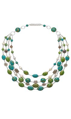 Jewelry Design - Multi-Strand Necklace with Mosaic Turquoise Gemstone Beads, Sterling Silver Beads and Assorted Gemstone Beads - Fire Mountain Gems and Beads