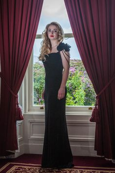 Black Velvet cowl neck evening dress with Back Bead and shoulder detail Evening Dresses, Formal Dresses, Black Velvet, Cowl Neck, Bead, Detail, Shoulder, How To Wear, Collection