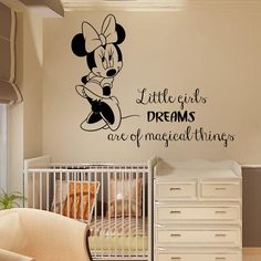 Wall Decals For Baby Girl Nursery Mouse Quote Little Girls Dreams Are Of Magical Things Decal Home Vinyl Decal Sticker Kids Room Decor Nursery Wall Decals, Nursery Room, Girl Nursery, Girls Bedroom, Baby Room, Nursery Decor, Room Decor, Wall Sticker, Nursery Design