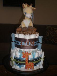 baby boy giraffe diaper cakes | Giraffe Safari Jungle Diaper Cake Jungle Theme Baby Shower Centerpiece ...