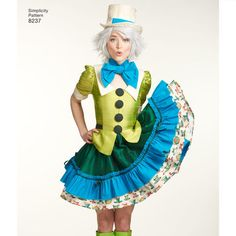 This must-have costume dress pattern features cosplay costumes for two Disney favorites: the Mad Hatter and the White Rabbit from Alice in Wonderland. Pattern also includes bow tie and neck ruffles. Disney for Simplicity sewing patterns. Skirt Patterns Sewing, Costume Patterns, Simplicity Sewing Patterns, Costume Ideas, Skirt Sewing, Cosplay Dress, Cosplay Costumes, Mad Hatter Cosplay, Alice In Wonderland Rabbit