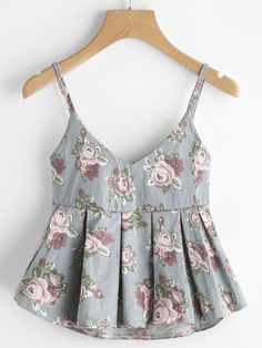 Shop V Neckline Floral Print Pleated Cami Top online. SheIn offers V Neckline Floral Print Pleated Cami Top & more to fit your fashionable needs. Teen Fashion Outfits, Mode Outfits, Trendy Fashion, Casual Outfits, Punk Fashion, Lolita Fashion, Retro Fashion, Fashion Dresses, Cami Tops