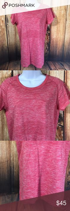 """Lululemon Run Swiftly Short Sleeve Tech Tee Lululemon  Run Swiftly Top  Short Sleeve  Coral Heather Color  Size 10  Measures 18"""" across bust  Measures 27.5"""" long from center back  Sleeves measure 7.5"""" long from neck seam to cuff  Gently worn, good condition lululemon athletica Tops Tees - Short Sleeve"""