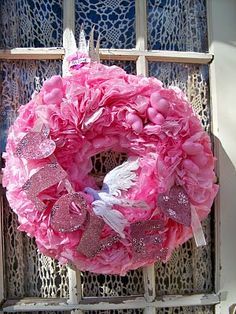 Pink coffee filter wreath for valentines day