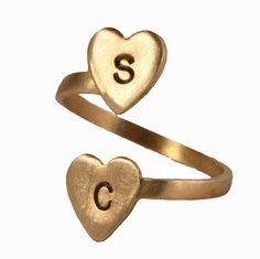 Personalized Two Heart Initial Ring - Adjustable Ring from the Valerie Tyler Collection. Personalize it with any two initials you like to treat yourself or give for an anniversary, birthday, friendship or mother's gift.
