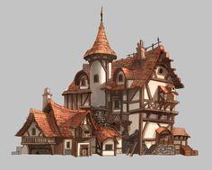 Practice , San Yi on ArtStation Casa Medieval Minecraft, Medieval Houses, Minecraft Houses, Fantasy Town, Fantasy House, Building Concept, Building Design, Environment Concept Art, Environment Design