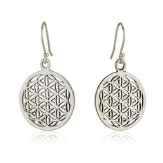 "Classic Flower of Life Earrings Sterling Silver 925 Size 1"" Sacred Geometry Seed #MAGAYA #Hook"