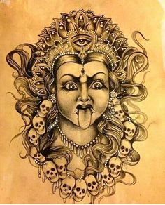 """""""Kali"""" by The Sinister Hand Hindu Tattoos, God Tattoos, Asian Tattoos, Kali Tattoo, Ganesha Tattoo, Tattoo Arm, Durga Painting, Lord Shiva Painting, 3d Art Drawing"""