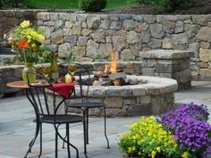 retaining wall & fire pit