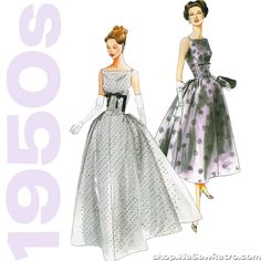 Paper sewing pattern to make a dramatic dress with fitted waist and back gathered skirt. Love the 1950s? Find more 50s vintage reproductions and original 50s vintage here. Condition This is a contempo