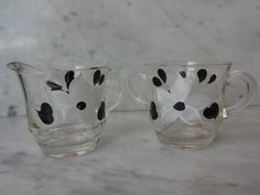 Vintage Cream and Sugar Set with White and Black Gay Fad Flowers  | SelectionsBySusan - Kitchen & Serving on ArtFire