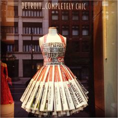 Fly dress made out of all newspaper. #detroittexture