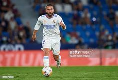 Daniel Carvajal of Real Madrid CF runs with the ball during the La...