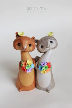 Squirrel wedding cake topper same sex marriage by HeartmadeCottage