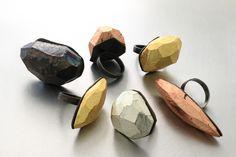 Ultralight_rings / balsa wood, silver, leaf metals by Michelle Kraemer.