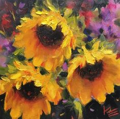 """Daily Paintworks - """"Expression of Sunshine"""" - Original Fine Art for Sale - © Krista Eaton"""