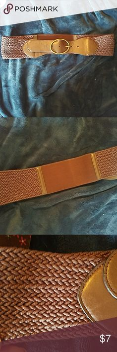 "Brown stretch belt. Plus size stretch belt,  19"" long unstretched on loosest, notch, 3"" wide Accessories Belts"