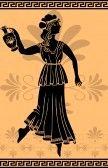 arte greca : donna greca con stencil anfora