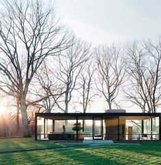 """The Glass House/Johnson house designed by Philip Johnson in 1949 as his own residence, and """"universally viewed as having been derived from"""" the Farnsworth House design, according to Alice T. Friedman. It was an important and influential project for Johnson and for modern architecture. The building is an essay in minimal structure, geometry, proportion, and the effects of transparency and reflection. It was designated a National Historic Landmark in 1997 and is open to the public for guided…"""