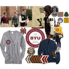 """BYU-Hawaii Varsity Sweater/Jacket Inspiration"" by camik on Polyvore"