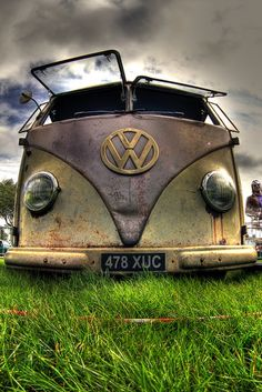 VW ~ Love the way the windshield opens up in the front... Vintage ~ Aged ~ Weathered