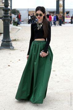 Emerald Street Style, long maxi skirt with velvet black top