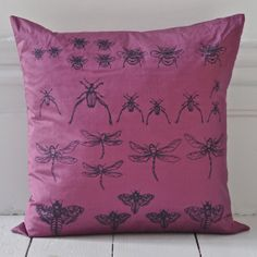 Archive Cushion - Violet {Available in other colours or why not commission a bespoke colour} Hand Printed Fabric, Living Room Decor, Archive, Cushions, Textiles, Colours, Throw Pillows, Cupboard, Bespoke