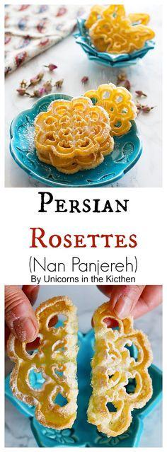 Easy Desserts, Delicious Desserts, Dessert Recipes, Rosette Recipe, Persian Desserts, Iranian Desserts, Persian Recipes, Rosette Cookies, Iran Food
