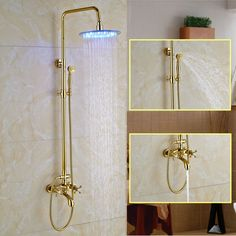 Bathroom Shower LED Light Mixer Tap with Brass Shower Head Telephone Handshower Brass Shower Head, Shower Heads, Hand Held Shower, Shower Set, Rainfall Shower, Mixer Taps, Led, Bathroom Fixtures, Candle Sconces