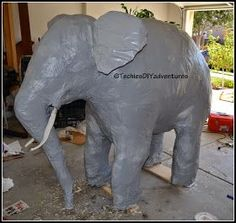 Techie's DIY Adventures: Tutorial on how to make paper mache elephant (almost life size)