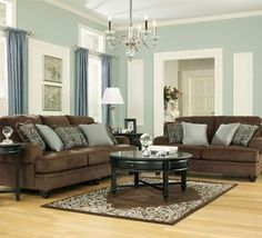 Ashely Furniture Brown And Teal Sofa | Do I Do The Love Seat And Couch .  Chocolate Living RoomsLiving Room SetsBlue ...
