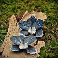 Orchid flowers earrings... #dnestvorim  #kreativnislovaci  #polymer  #orchid  #flower  #blue  #navy  #white  #earrings  #nausnice  #orchidea