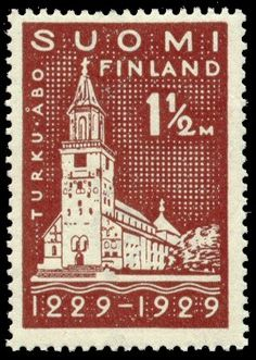 Postage stamp depicting the Turku Cathedral and celebrating 700 years of the city of Turku