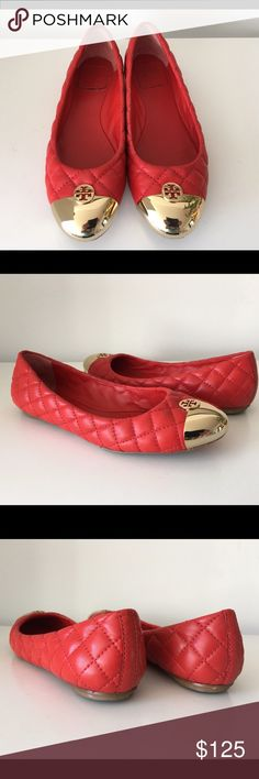TORY BURCH RED/GOLD KAITLIN QUILTED CAP TOE FLAT TORY BURCH RED/GOLD KAITLIN QUILTED CAP TOE LEATHER BALLET FLAT, SIZE 6.5, NO SIGNS OF WEAR ABOVE SOLE, GENTLY USED IN EXCELLENT CONDITION Tory Burch Shoes Flats & Loafers