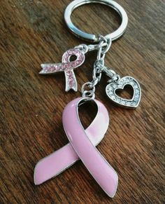 Breast Cancer Keychain with charms. Perfect Fundraiser. Great for 3 Day Walk. Awesome Gift!