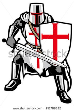Vector Illustration of a Knight with a Sword Mascot Style. Knight Logo, Knight Art, Shield Drawing, Medieval Tattoo, Knight Tattoo, Crusader Knight, Red Ribbon Week, Cartoon Logo, Old Maps
