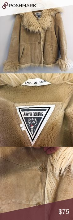 "Marvin Richards Vintage Suede Faux Fur Boho Coat MARVIN RICHARDS COAT  -VINTAGE  -70s BOHO STYLE -REAL GENIUNE SUEDE SHELL -FAUX SHEARLING/MONGOLIAN FUR LINING, COLLAR, TRIM, CUFFS -TAN/BEIGE COLOR -TWO FRONT POCKETS -2 BUTTON CLOSURE -VERY WARM -SIZE SMALL  21"" ARMPIT TO ARMPIT 24"" SLEEVE 24"" TOP TO BOTTOM  GREAT CONDITION!   GORGEOUS VINTAGE PIECE TO ADD TO YOUR WARDROBE! Marvin Richards Jackets & Coats"
