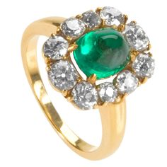 Raymond Yard Cluster Cabochon Diamond Emerald Ring | From a unique collection of vintage engagement rings at http://www.1stdibs.com/jewelry/rings/engagement-rings/