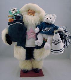"Philadelphia Eagles Santa- Santa Claus Doll- 18"" Tall by DianesHeirloomSantas on Etsy https://www.etsy.com/listing/203366021/philadelphia-eagles-santa-santa-claus"