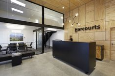 Bubble Interiors was engaged by real estate company, Harcourts, to design their offices located in Opotiki, New Zealand. Having outgrown the prefab house Business Office Decor, Corporate Office Design, Office Interior Design, Office Interiors, Interior Decorating, Workplace Design, Office Designs, Lobby Design, Hall Design
