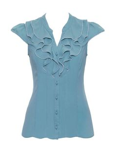 Review Australia | RE14TW044 Emmy Blouse in Duck Egg