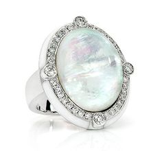Ivanka Trump bubble ring in 18k white gold with rock crystal, mother of pearl, & diamonds