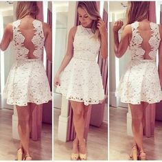 2016 Pretty Princess Homecoming Dress, Lace Short Prom Dress ,White And Backless Party Dress