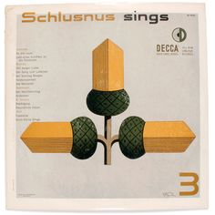 There is so much great work out there for record jackets by Erik Nitsche, but I'll just pin a few. His Schlusnus sings series is just brilliant and so effective from a decorative standpoint. I love his choice of colours and the graphic quality for this third volume put out on the Decca Gold Label Series.