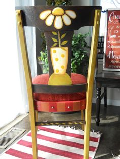 Handpainted Love Mugs Daisy Chair by DebHrabikDesigns on Etsy, $90.00