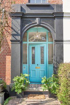 This teal shade adds plenty of character to this Victorian home. #frontdoor #door #realhomes Bright Front Doors, Front Door Colors, Front Door Decor, Exterior Colors, Exterior Design, Dulux Weathershield, Orange Door, Modern Properties, Painted Front Doors