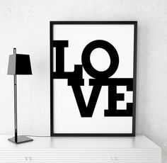 """Typography Art Typography Poster """"LOVE"""" Printable Art Poster Love Printable Wall Art Printable Typography Quotes Print Digital Download"""