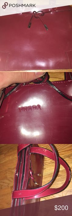 Women's 100% Authentic Prada purse This is a good condition Red leather Prada purse. This is 100% an authentic Prada product! Prada Bags Totes
