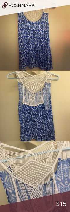 White and blue tank top Super cute white and blue tank top! With white lacing on back Deb Tops Tank Tops