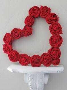 a little sparkle: Rolled Burlap Heart Wreath